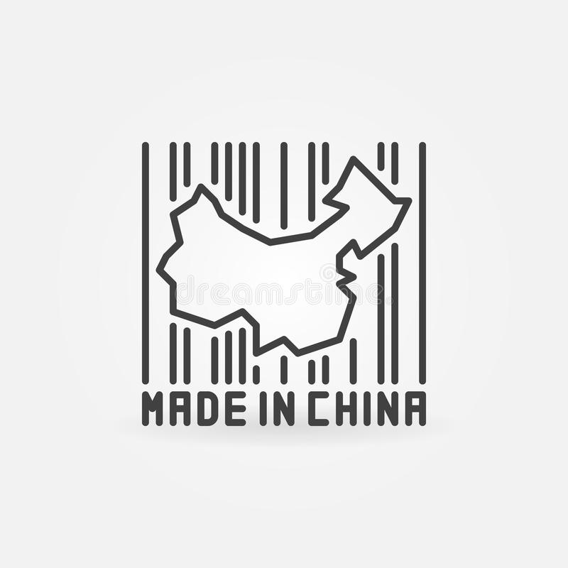 China map in barcode concept icon vector illustration