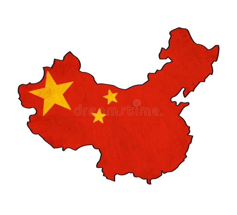 China map on China flag drawing. Grunge and retro flag series stock illustration