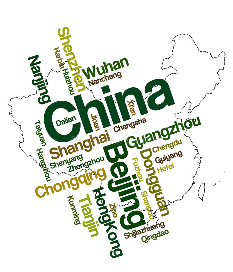 China map and cities. China map and words cloud with larger cities