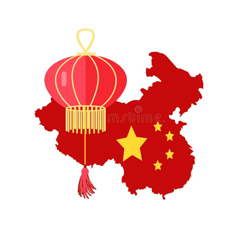 China Map Colored in Red and Paper Lantern Vector. Map of Chinese country vector, traditional representation of China with flag stars and paper lantern isolated royalty free illustration