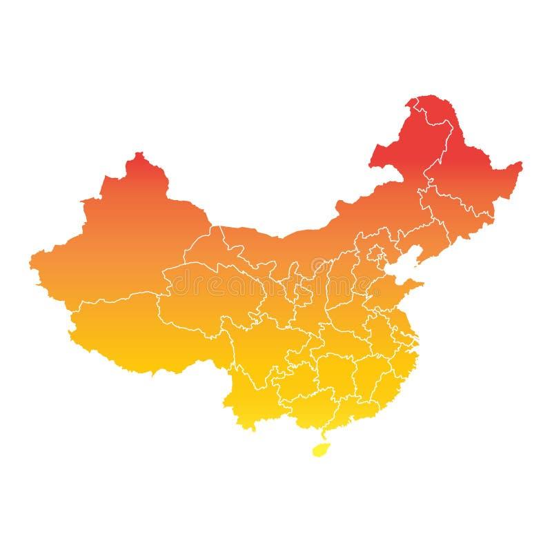 China map colorful orange vector illustration. China map. Colorful orange vector illustration on white background royalty free illustration