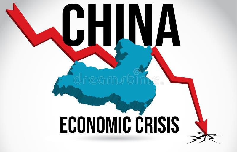 China Map Financial Crisis Economic Collapse Market Crash Global Meltdown Vector. Illustration stock illustration