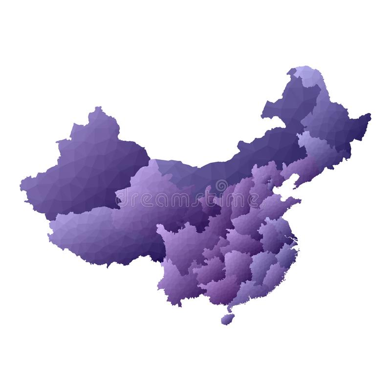 China map. Geometric style country outline. Enchanting violet vector illustration stock illustration