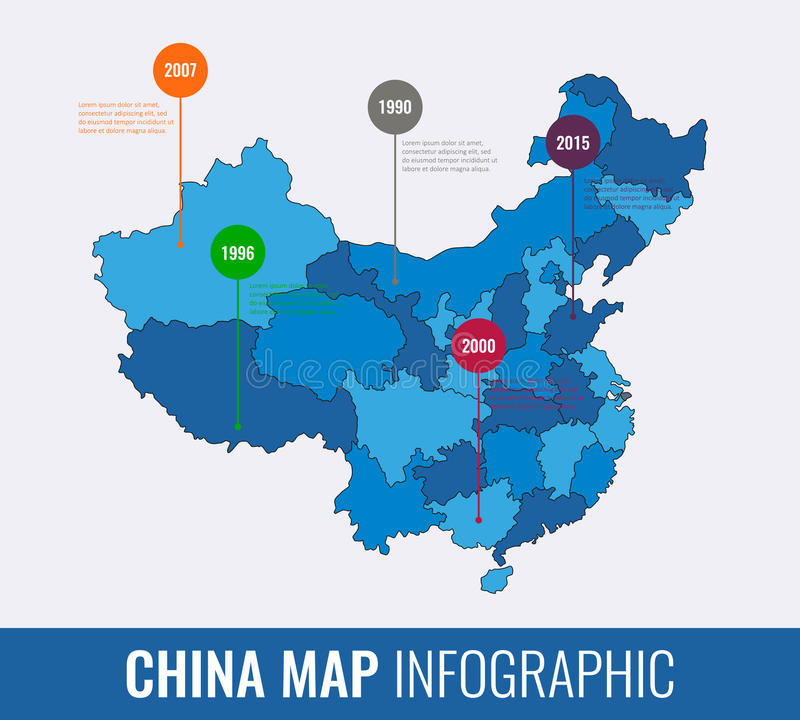 China map infographic template. All regions are selectable. Vector vector illustration
