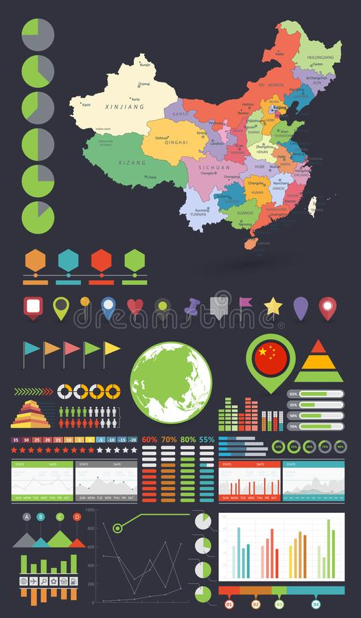 China map and infographics design elements stock vector download china map and infographics design elements stock vector illustration of information globe gumiabroncs Images