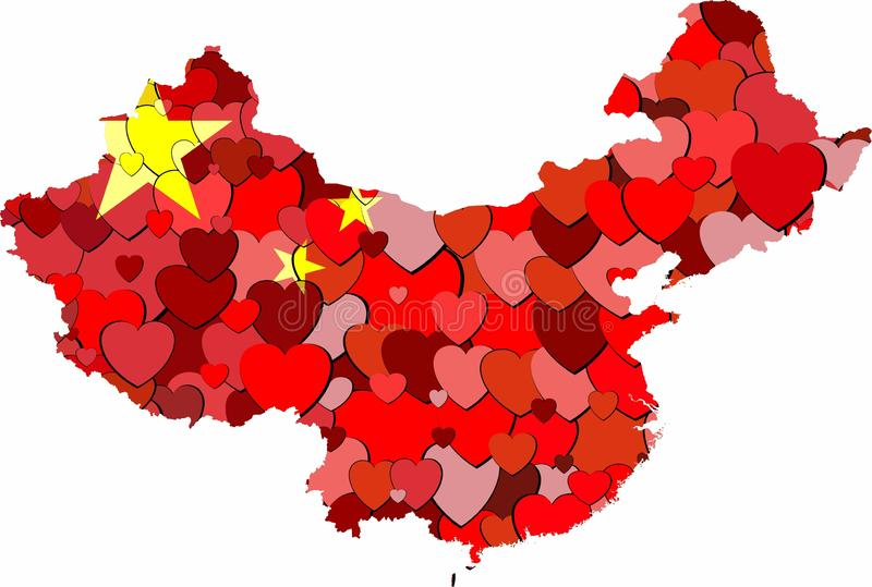 China map made of hearts background vector illustration
