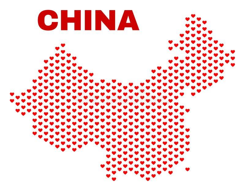 China Map - Mosaic of Love Hearts stock illustration