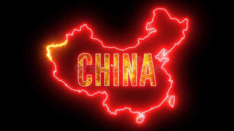 China map outline with neon light. Creative animation Chinese country with beautiful bulb stock illustration