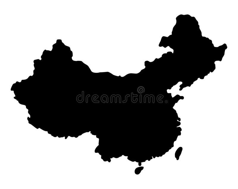 China map silhouette vector illustration. Isolated on white background stock illustration