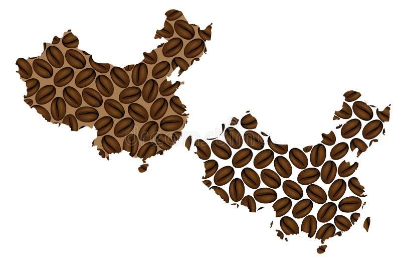 China - mapa do feijão de café ilustração stock