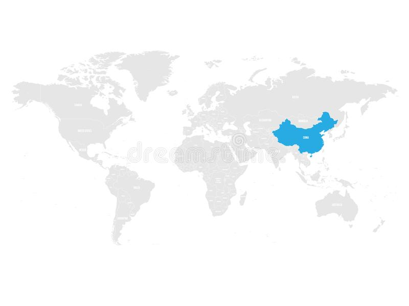 China marked by blue in grey World political map. Vector illustration stock illustration