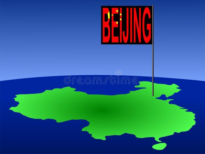China mit Peking-Markierungsfahne lizenzfreie abbildung