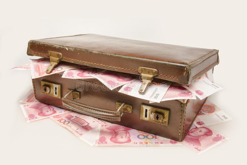 The briefcase filled with China RMB royalty free stock photos
