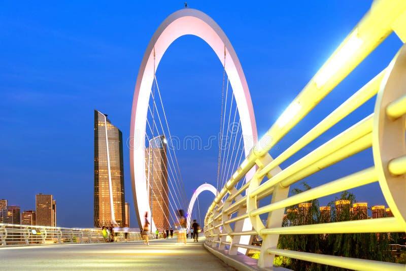 Cityscape of Nanjing, China. China Nanjing city skyline and modern buildings, night landscape stock images