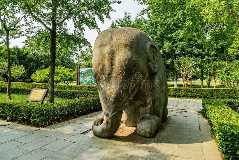 China Nanjing Ming Xiaoling Mausoleum 18. Nanjing Ming Xiaoling Mausoleum Elephant Road Spirit Way Closeup View of a Sitting Elephant Sculpture royalty free stock photos