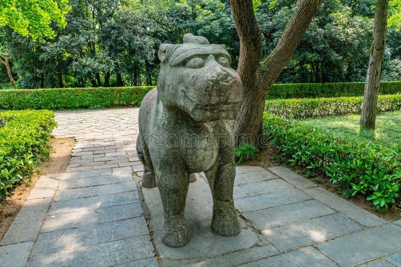 China Nanjing Ming Xiaoling Mausoleum 13. Nanjing Ming Xiaoling Mausoleum Elephant Road Spirit Way Xiezhi Haetae Mythical Legendary Creature stock photography
