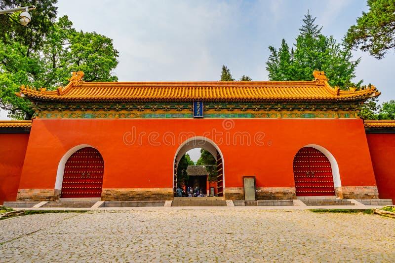 China Nanjing Ming Xiaoling Mausoleum 25. Nanjing Ming Xiaoling Mausoleum Picturesque Red Colored Wenwu Fangmen Gate Main Entrance View royalty free stock photography