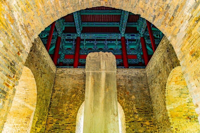 China Nanjing Ming Xiaoling Mausoleum 08. Nanjing Ming Xiaoling Mausoleum Sifangcheng Square City Pavilion Interior View of Shengong Shengde Stele royalty free stock photography