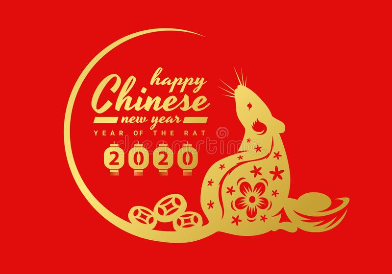 China New Year 2020 Banner Card With Gold Rat Chinese Zodiac