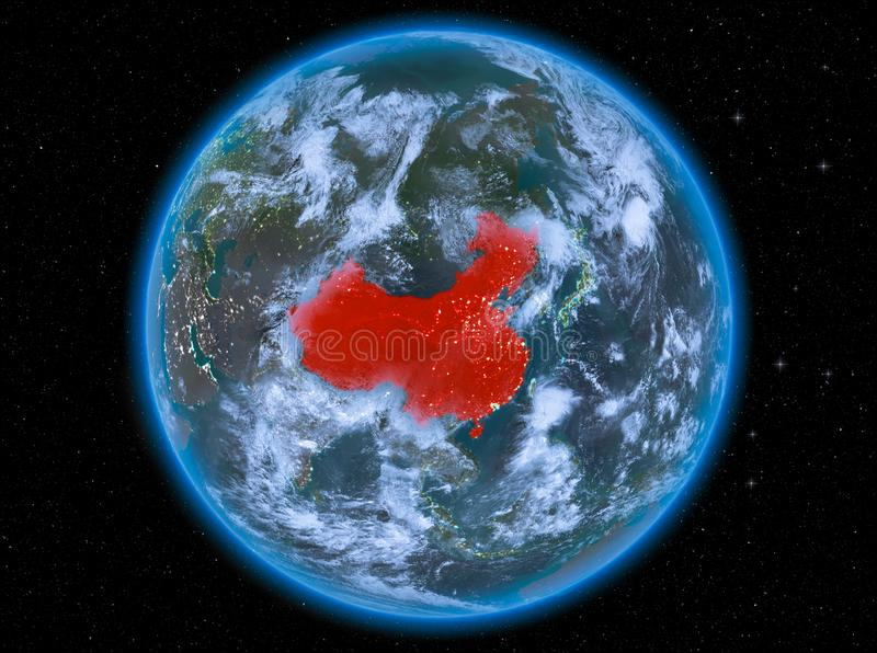 China at night on Earth. Night view of China highlighted in red on planet Earth with atmosphere and clouds. 3D illustration. Elements of this image furnished by vector illustration