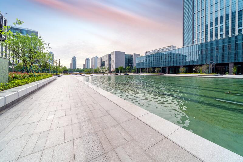 China Ningbo Cityscape. City square and modern buildings, cityscape of Ningbo, China royalty free stock photo