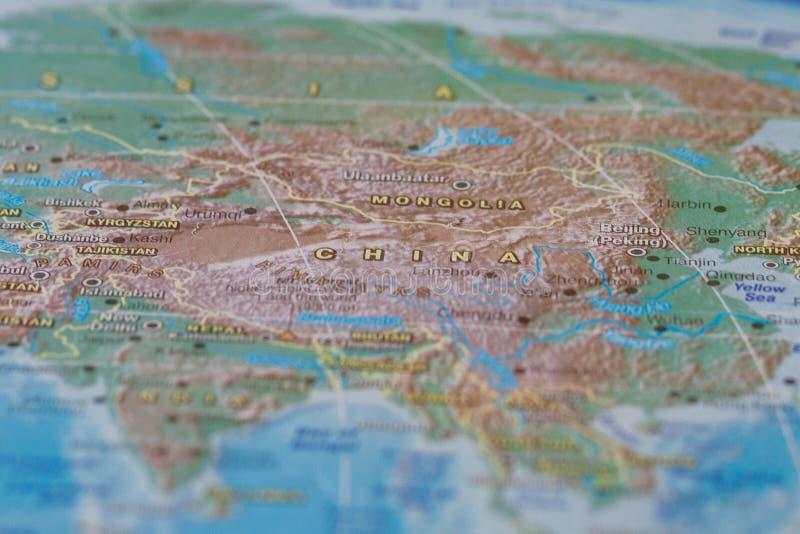 China no fim acima no mapa Foco no nome do país Efeito do Vignetting fotografia de stock royalty free