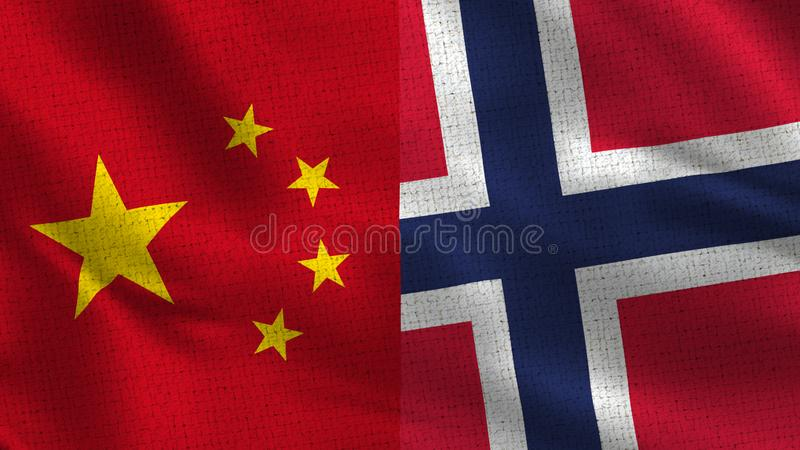 China and Norway - Two Half Flags Together royalty free stock photography