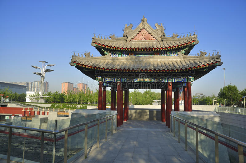 China Olympic Park in Beijing. Olympic Park is the Beijing 2008 Olympic Games main venues , with : Asia's largest artificial water system in urban areas , Asia's stock photography