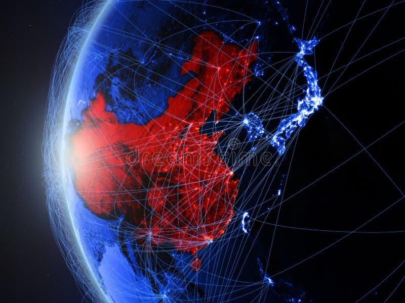 China op blauwe Aarde met netwerk vector illustratie