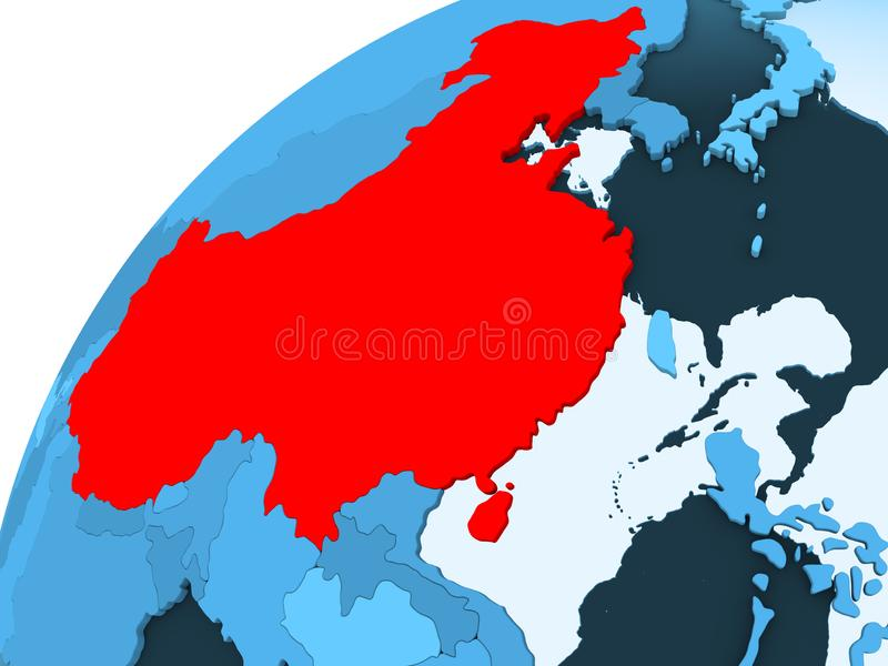 China op blauwe bol stock illustratie