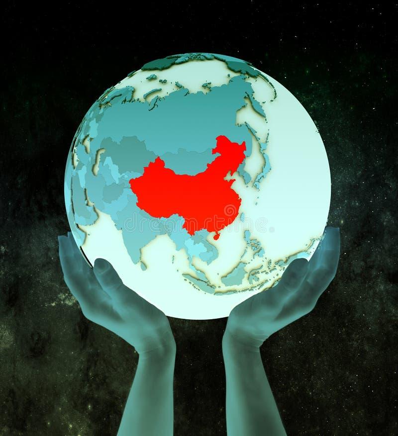 China op blauwe bol in handen vector illustratie
