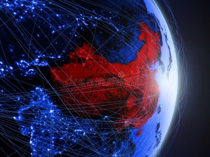 China op blauwe blauwe digitale Aarde royalty-vrije illustratie