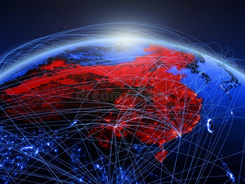 China op blauwe digitale aarde met internationaal netwerk die mededeling, reis en verbindingen vertegenwoordigen 3D Illustratie stock fotografie