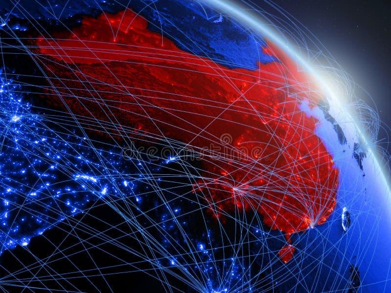 China op blauwe blauwe digitale bol vector illustratie