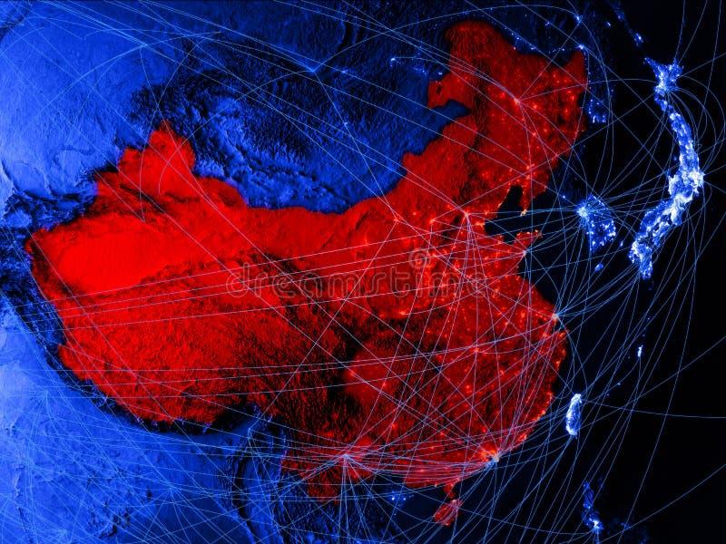 China op blauwe digitale kaart met netwerken Concept internationale reis, mededeling en technologie 3D Illustratie elementen vector illustratie