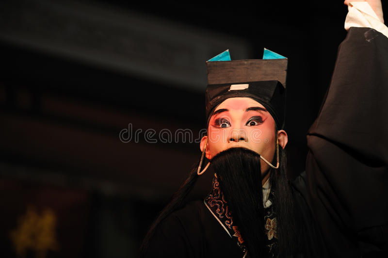 China opera actor. With long black beard royalty free stock images
