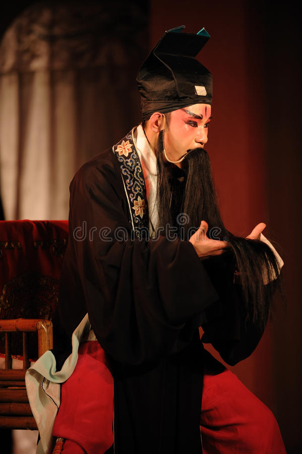 China opera actor. With long black beard royalty free stock photo