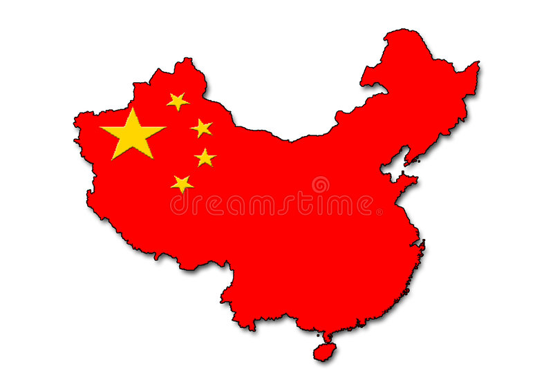 China outline with flag stock illustration
