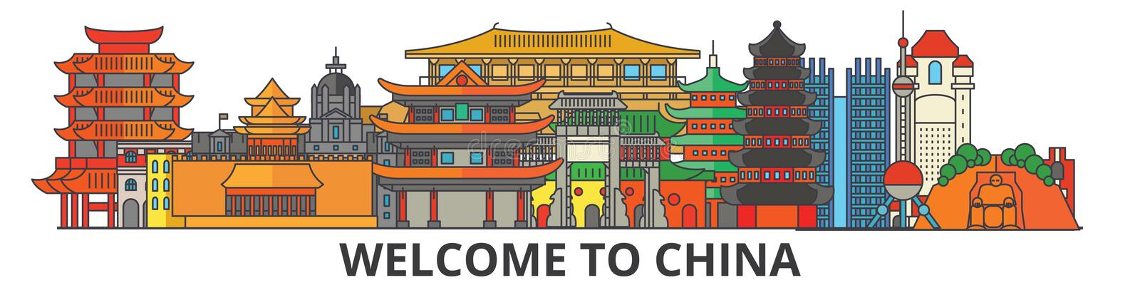 China outline skyline, chinese flat thin line icons, landmarks, illustrations. China cityscape, chinese vector travel stock illustration