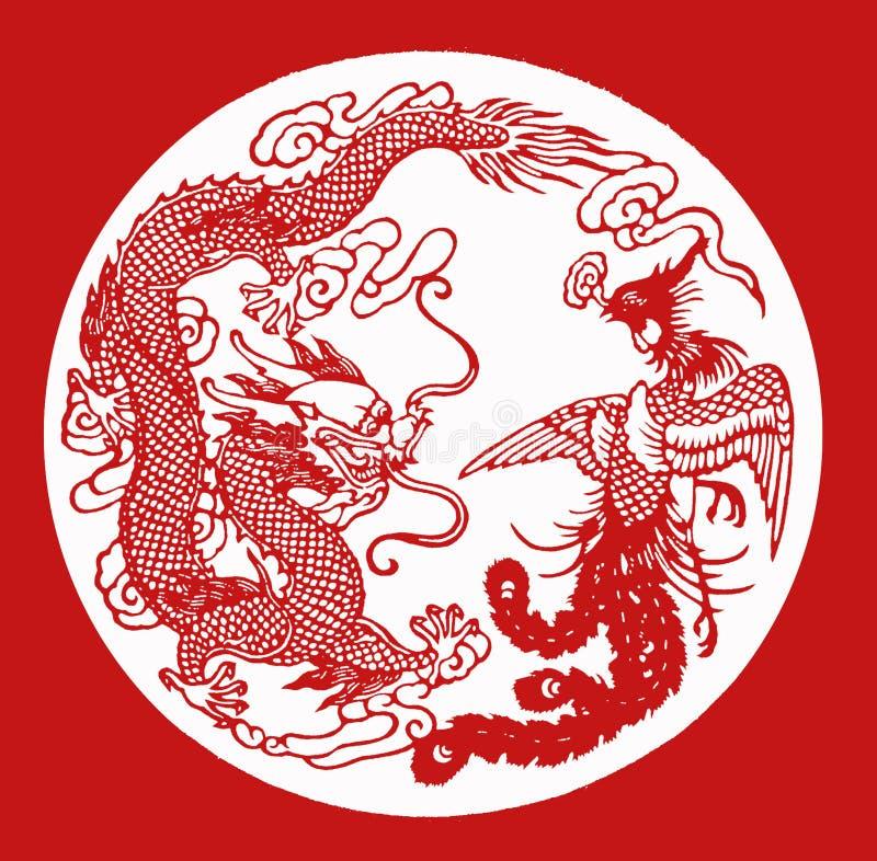 China-Papier SCHNITT Drache Phoenix stockbilder