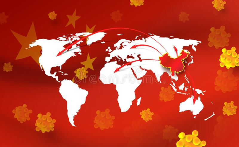 China pathogen respiratory coronavirus. World map, China map, arrows, floating influenza virus cells on china flag stock illustration