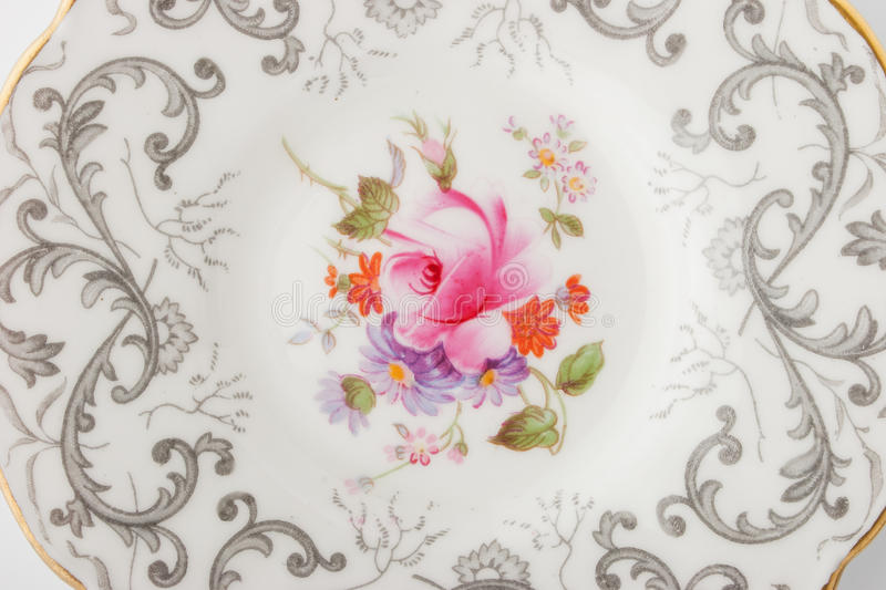 China plate top view. China plate on the white background top view horizontal royalty free stock images