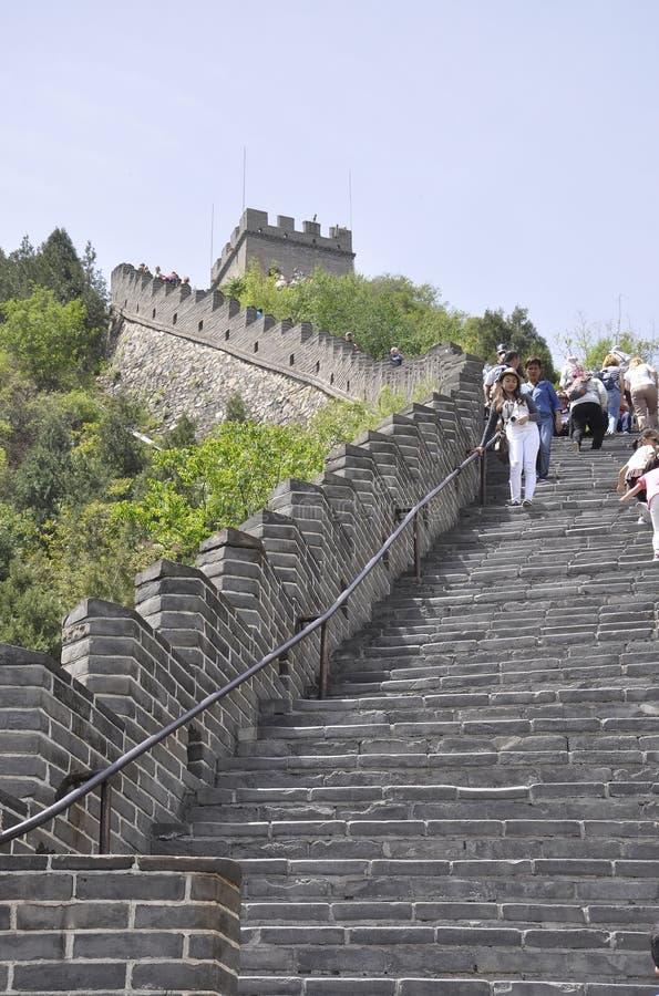 China, 6a pode: Escadas chinesas do Grande Muralha na passagem de Juyongguan foto de stock royalty free