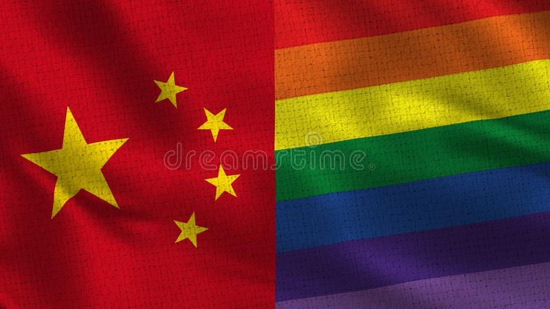 China and Pride Gay - Two Half Flags Together. Fabric Texture - High Resolution royalty free stock images