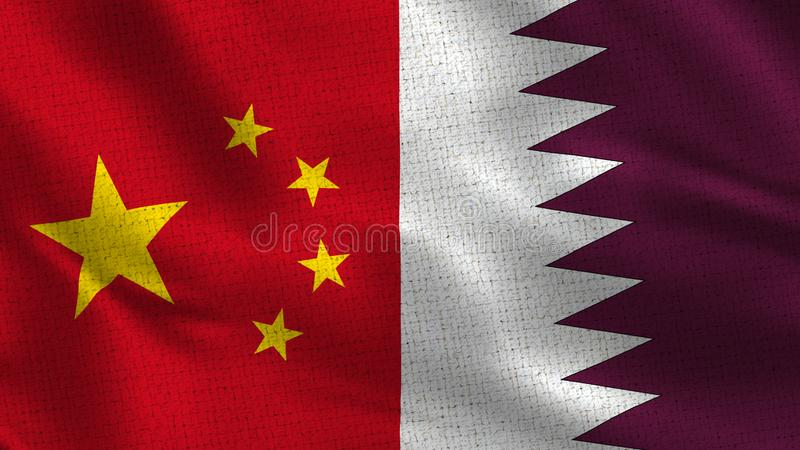 China and Qatar - Two Half Flags Together stock photography