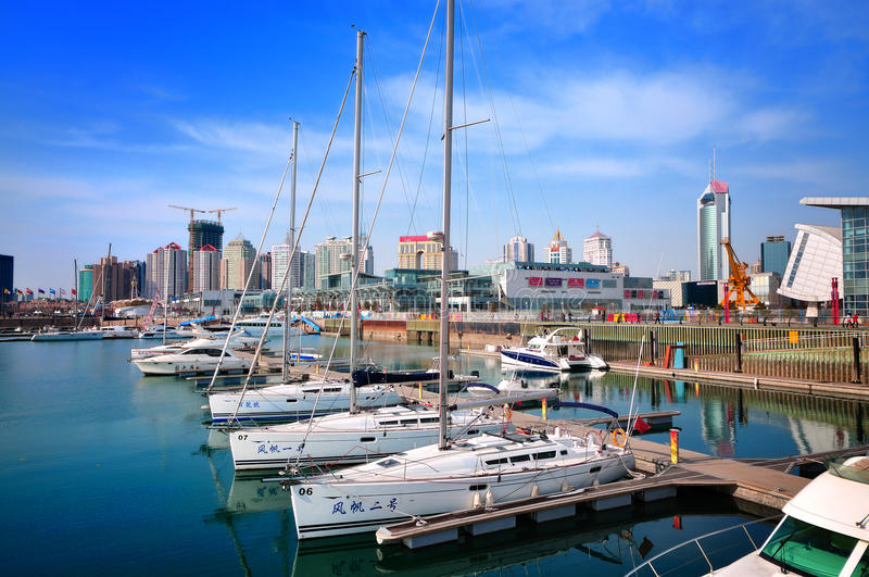 China Qingdao city Yacht Marina royalty free stock images