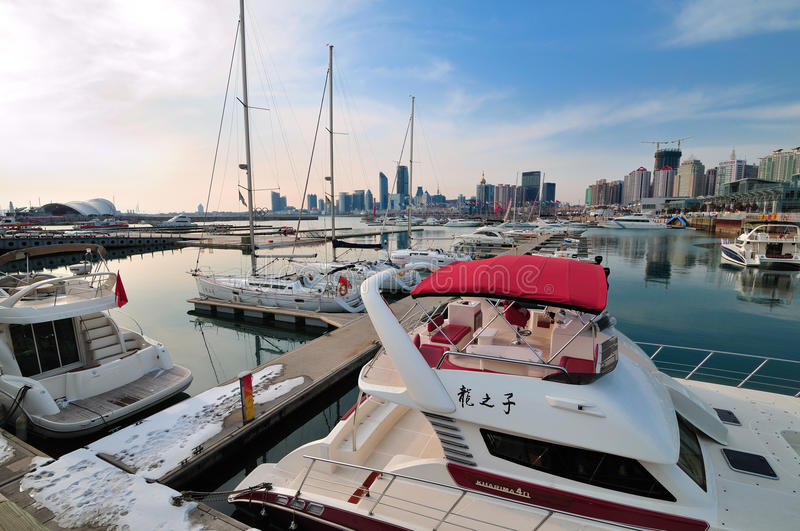 China Qingdao city Yacht Marina stock photography