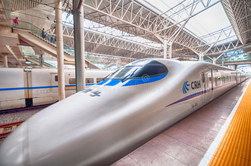China Railway High-speed. (CRH) is the high-speed rail service operated by China Railways.  runs different electric multiple unit trainsets, The fastest royalty free stock photography