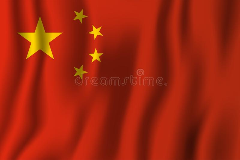 China realistic waving flag vector illustration. National country background symbol. Independence day royalty free illustration