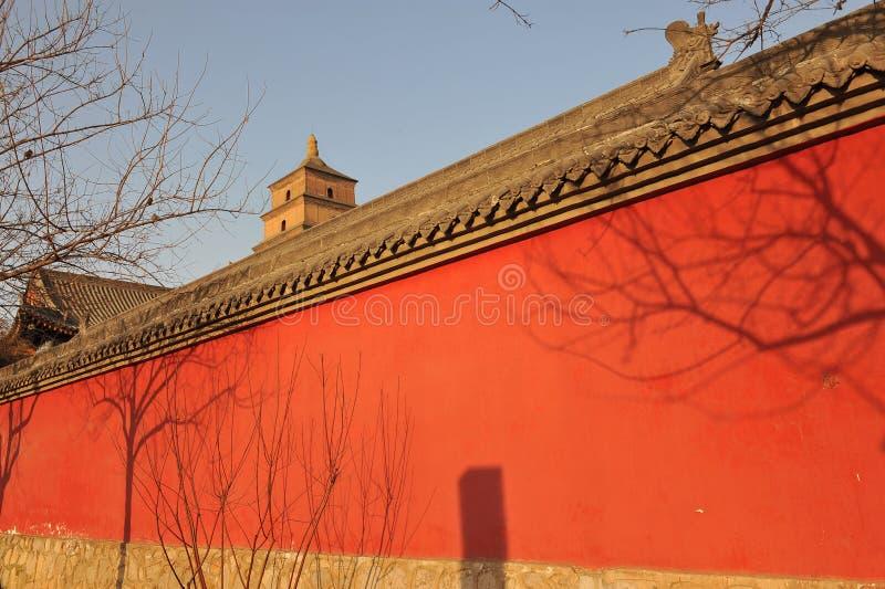 China red wall stock photo